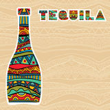 Mexican Background With Fancy Bottles Of Tequila. Abstract background with ethnic pattern and multicolored ornate bottle. Fancy tequila title added. Copy space Royalty Free Stock Images
