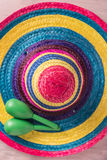 Mexican background with sombrero and maracas Royalty Free Stock Images