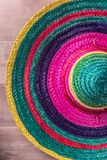 Mexican background with sombrero. Mexican background. Sombrero on rustic wooden background. Top view with copy space