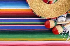 Mexico, Mexican sombrero, maracas, background corner border, copy space Stock Photos