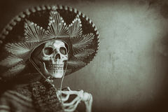 Mexican Bandit Skeleton. A skeleton wearing a Mexican sombrero and a poncho. Edited in a vintage film style royalty free stock photo