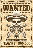Mexican bandit skull in sombrero wanted poster. Mexican bandit skull in sombrero with mustache wanted poster in vintage style vector illustration for thematic Royalty Free Stock Images