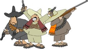 Mexican banditos Stock Images