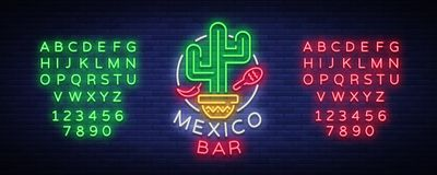 Mexican bar is a neon-style logo. Neon sign, design template on Mexican food. Bright glowing banner, nightlife. Advertisement, neon billboard. Vector Royalty Free Stock Images