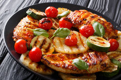 Mexican bbq: Chicken grilled fillet with vegetables in a sweet-h Stock Photos