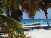 Mexican beach. Boat on the beach Stock Photos