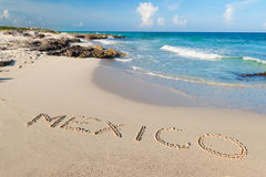 Mexican beach of Caribbean Sea. Mexico sign on the beach of Caribbean Sea Stock Images