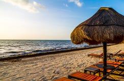 Beach Palapa. A beach scene at a Mexican luxury resort stock photo
