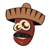 Mexican bean in sombrero. Cartoon Mexican bean with crazy eyes wearing a sombrero isolated on white Stock Photography