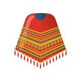 Mexican beautiful patterned cape on the shoulders, poncho. Traditional clothes. Carnival is a masquerade in Mexico City. Holiday, vacation with costumes, music Royalty Free Stock Photography