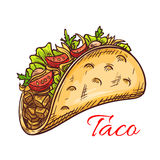 Mexican beef taco with fresh vegetables sketch Stock Photo
