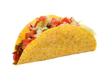Mexican beef taco with tomato and lettuce. Isolated on white background Royalty Free Stock Images