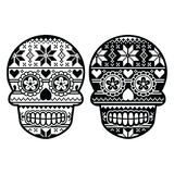 Mexican black sugar skull with winter Nordic pattern Stock Images