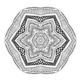 Mexican Black And White Ornament Mandala Style. Contrast tribal six sided zentangle pattern. Fantasy ethnic ornament for coloring page. Doodle style graphic Vector Illustration