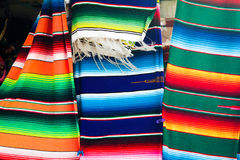 Mexican Blanket. Three Mexican blankets on display outside a shop Royalty Free Stock Photos