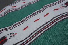 Mexican Blanket in Green and Red Royalty Free Stock Images