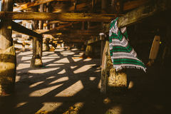 Mexican Blanket hanging under pier Royalty Free Stock Photography
