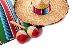 Mexican sombrero blanket maracas isolated white background Stock Image