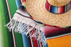 Mexico, Mexican blanket and sombrero. Traditional Mexican serape blankets or rugs with sombrero Royalty Free Stock Images