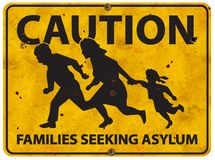 Mexican Border Family Running Asylum Sign Caution. Mexico grunge highway warning immigration customs patrol migration royalty free stock images