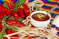 Mexican Bowl of Chili Royalty Free Stock Images