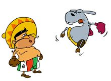 Mexican boxing with donkey 2 Royalty Free Stock Image