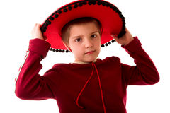 Mexican boy. Child in mexican hat on white background Royalty Free Stock Image