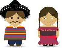 Mexican Boy & Girl stock illustration