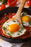 Mexican breakfast: fried egg with salsa on a pan macro. vertical Royalty Free Stock Photos