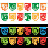 Mexican bunting banners. Mexican paper bunting banners on white and black, with viva mexico (long live mexico) decoration Royalty Free Stock Photo