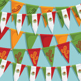 Mexican bunting decoration vector illustration