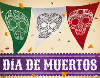 Mexican Bunting with Skulls to Celebrate Stock Image