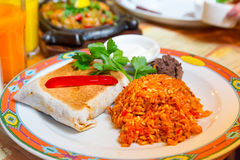Mexican burritos. With beef, melted cheese and rice Royalty Free Stock Image