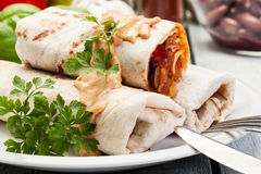 Mexican burritos Royalty Free Stock Photos