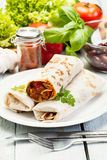 Mexican burritos on a plate Stock Images