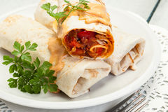Mexican burritos on a plate Stock Photos