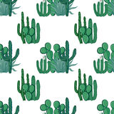 Mexican cactus seamless pattern on white background. Vector illu Royalty Free Stock Photo