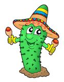 Mexican cactus with sombrero. Color illustration royalty free illustration