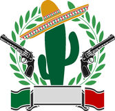 The mexican cactus and two pistols and laurel wreath Stock Photo