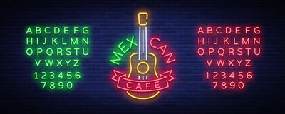 Mexican cafe is a neon sign. Bright glow sign, neon banner, luminous logo, symbol, nightly advertisement of Mexican food. Design a template. Vector Stock Photo