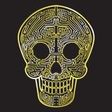 Mexican Calavera Skull. Golden Cyber theme decoration stock illustration