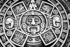 Mexican calendar symbolism on round disc royalty free stock photos
