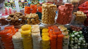 Mexican candies. Many candies made of fruits, milk and sugar, traditional sweet candy handmade like burned fruit milk and some fruits as coconut, oranges and royalty free stock images