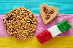 Mexican candy Palanqueta cajeta heart coconut Stock Images