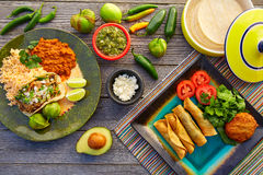 Mexican carnitas tacos with flautas from Mexico Stock Photos