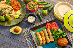 Mexican carnitas tacos with flautas from Mexico Royalty Free Stock Photography
