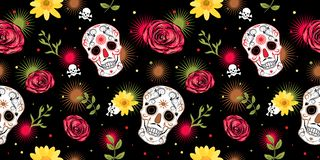 Free Mexican Carnival Dia De Los Muertos Day Of The Dead Concept With Sugar Skulls, Roses, Fireworks And Daisy Flower. Royalty Free Stock Photo - 167235225