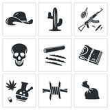 Mexican cartel Vector Icons Set Stock Photography