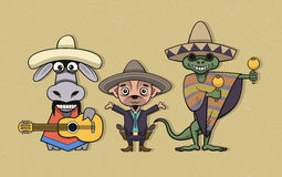 Mexican cartoon characters Royalty Free Stock Image