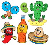 Mexican cartoon collection Royalty Free Stock Images